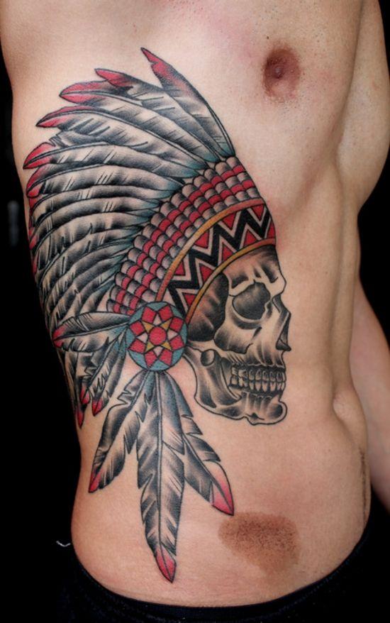 Indian Skull Tattoo on ribs
