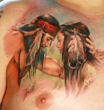 native american couples in love tattoo design on chest