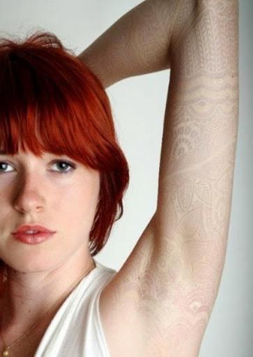 white ink tattoo full sleeve arm for women