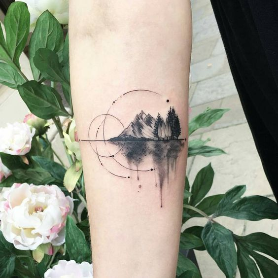 awesome winter nature geometric circle tattoo