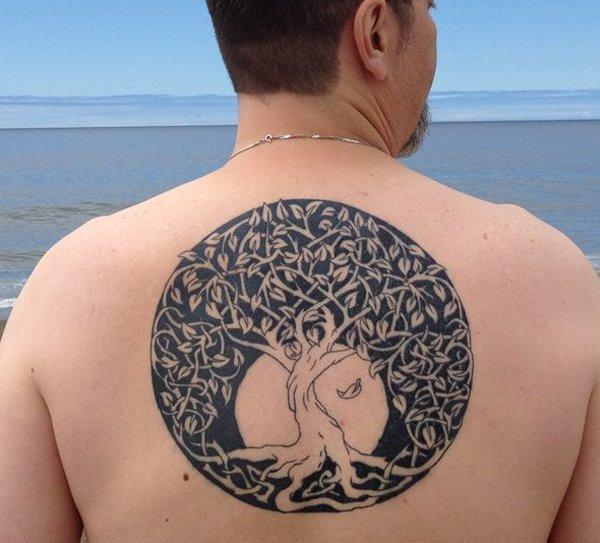Ornamental circle tree of life tattoo