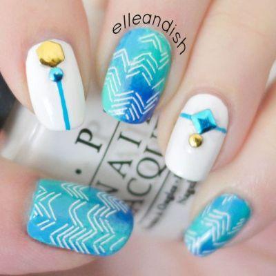 2 stud nail art design