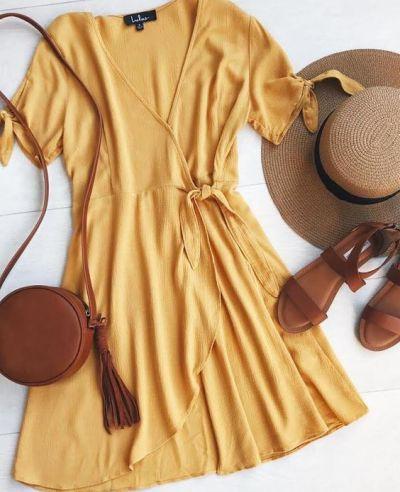 Mustard Yellow Wrap Dress