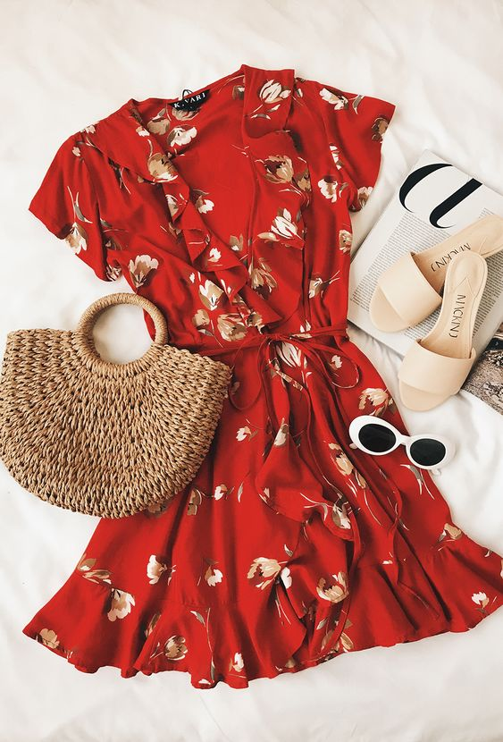 Red Floral Print Wrap Dress
