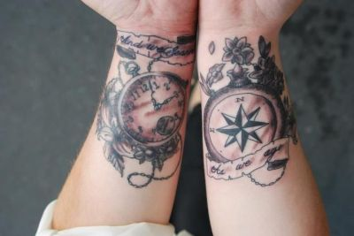 compass watch tattoo
