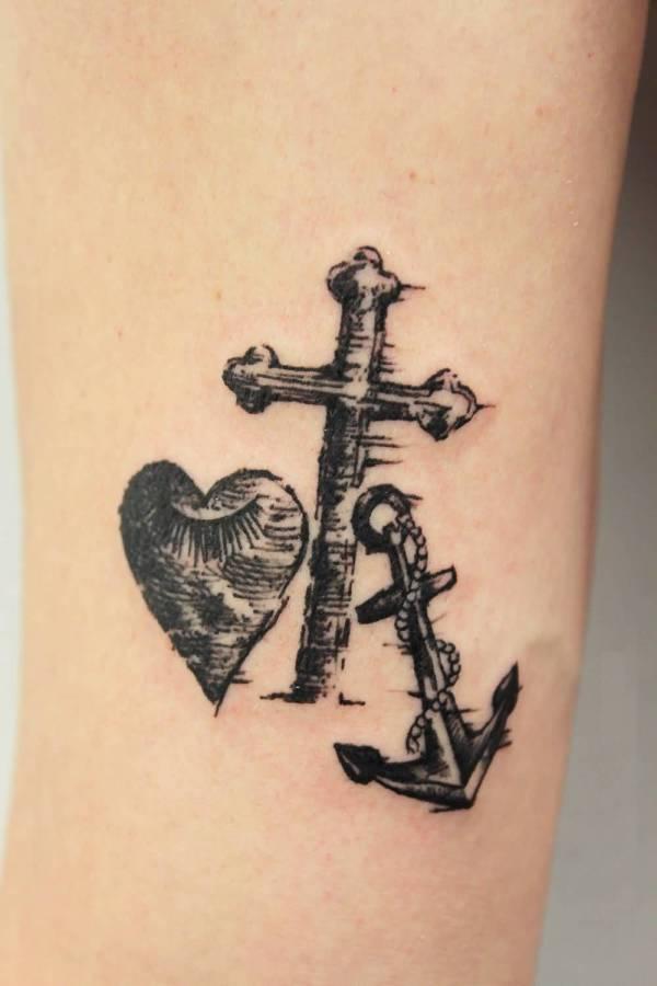 heart-cross-anchor-tattoo