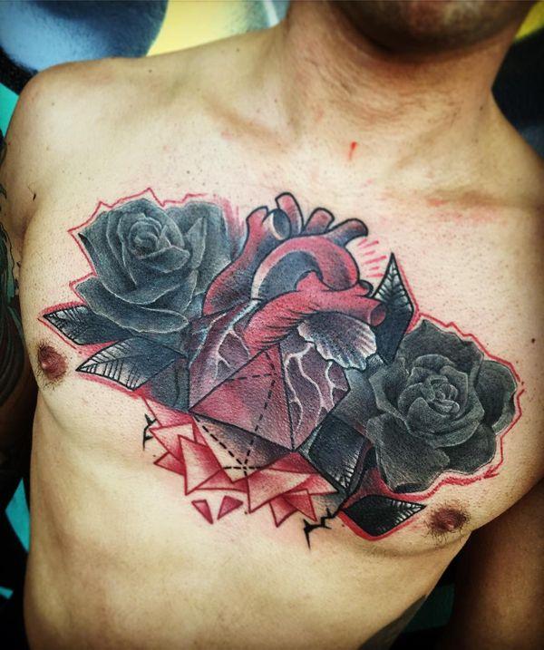 Trash Polka Flowers Chest Tattoo Ideas for Men