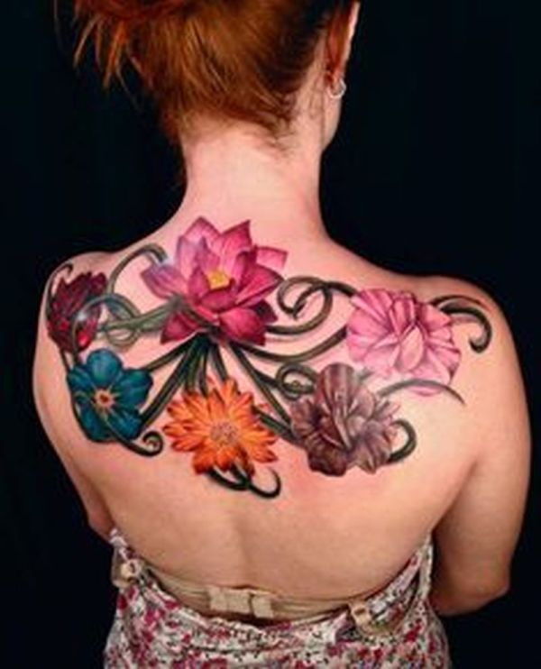 colorful flowers vines tattoo on back