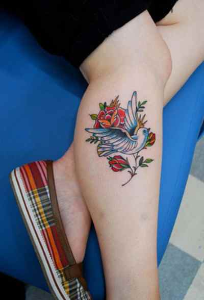 Colorful Dove with Roses Tattoo on foot