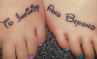 to infinity and beyond disney tattoo on feet