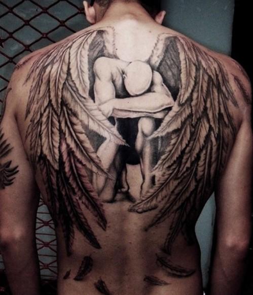 angel tattoos on back for men
