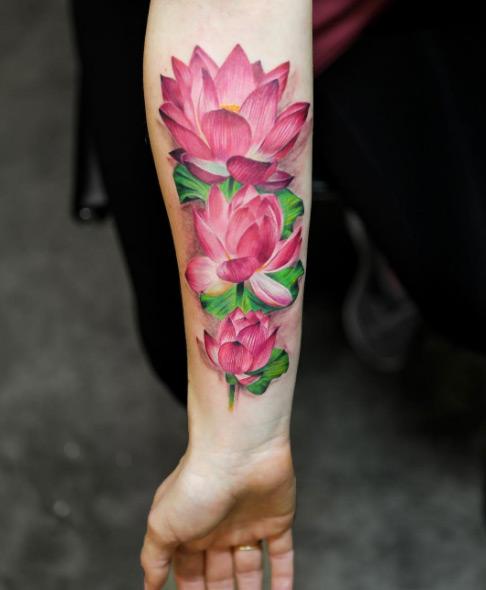 beautiful pink lotus flower tattoo