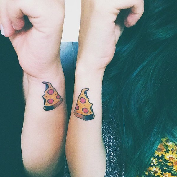 cute friendship tattoo pizza slice on side wrist for girls