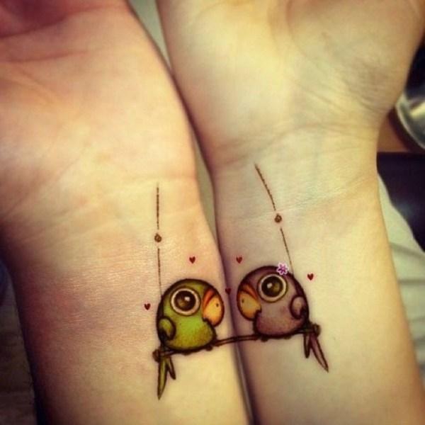 cute love birds tattoo on wrist for best friends