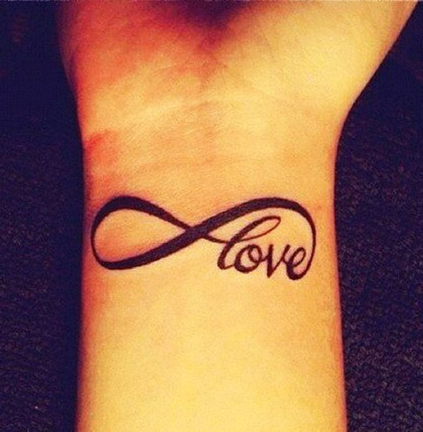 infinity love tattoo on wrist