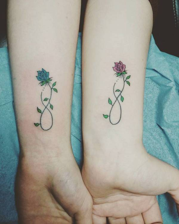 infinity rose tattoo for best girl friends