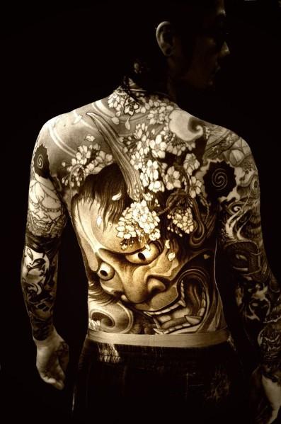 Japanese art tattoo sketch on back for men