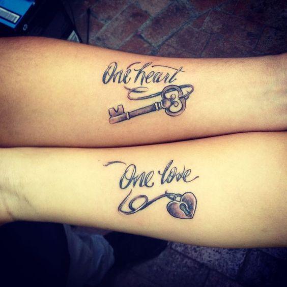 one heart one love tattoo on wrists