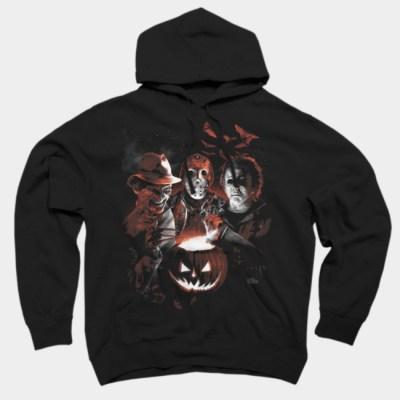 Jason-Freddy and Michael Myers Slasher Villains Halloween Horror Hoodie