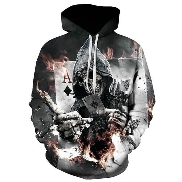 skull-ghost poker hoodie for halloween