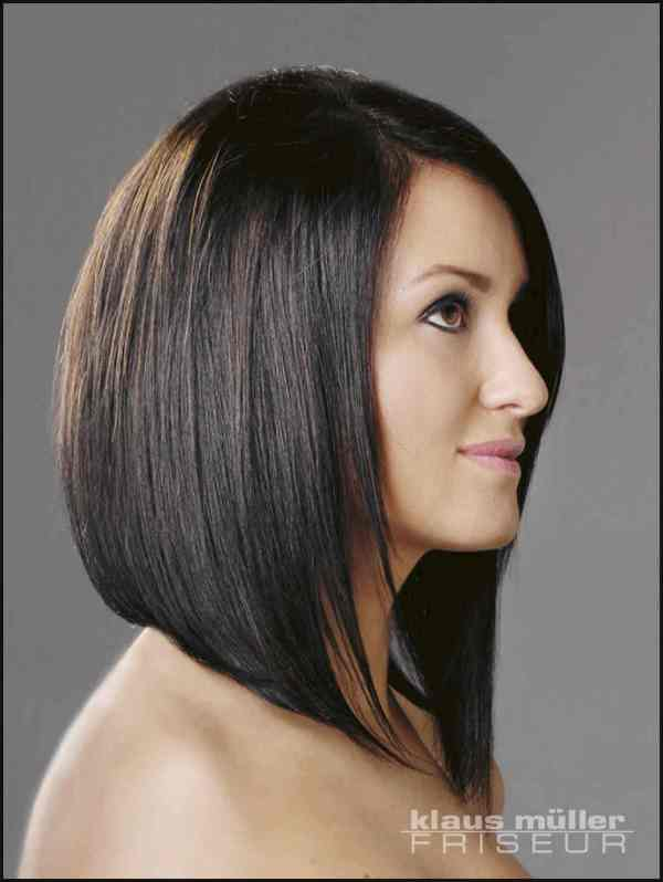 black long inverted bob hairstyle