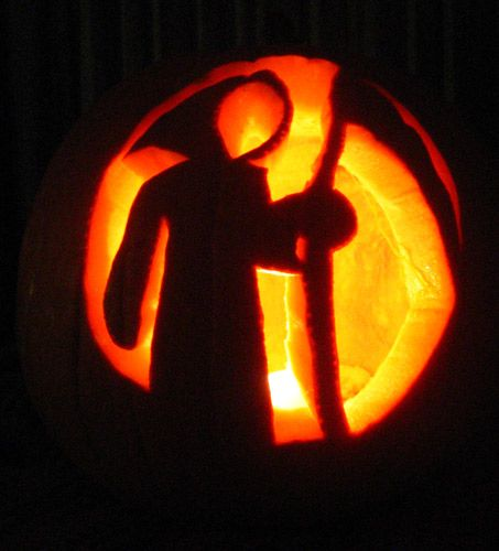 grim reaper pumpkin carving design ideas for halloween