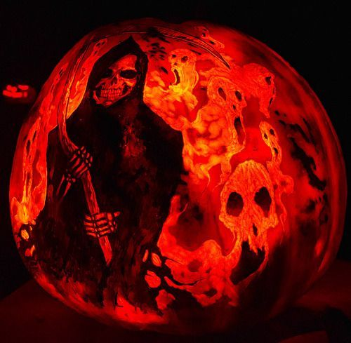 grim reaper pumpkin carving ideas for halloween