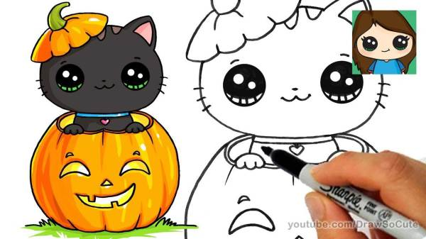 how to draw so cute halloween kitten with pumpkin