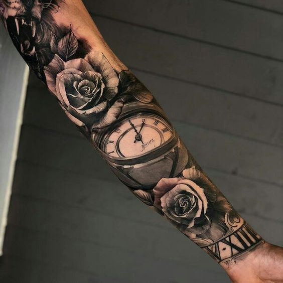 full inner sleeve rose clock tattoo for men