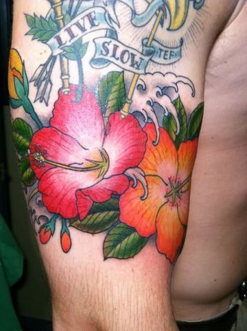 hibiscus flower tattoo for men