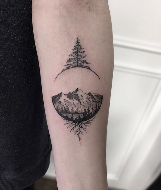 minimal geometric evergreen tattoo design picture