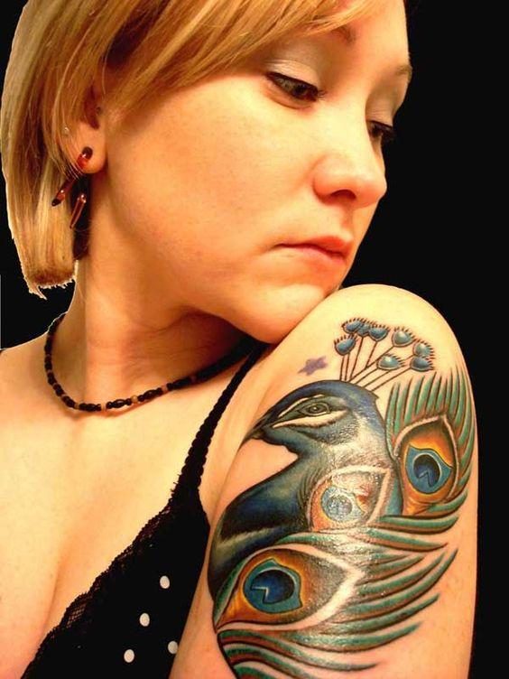 peacock tattoo for female quarter sleeve