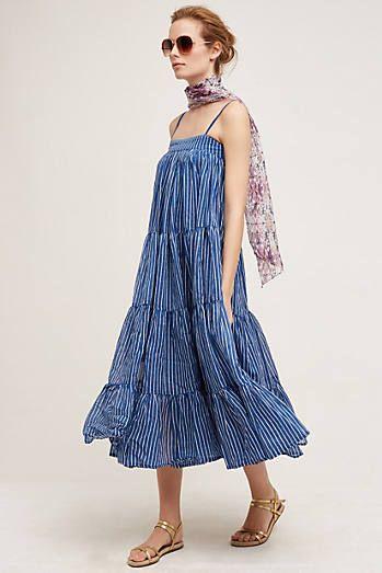 ruffled cotton maxi dress for women