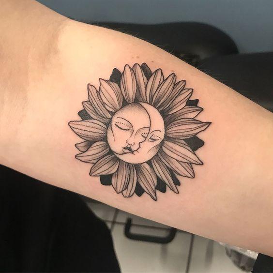 sunflower sun and moon tattoo design