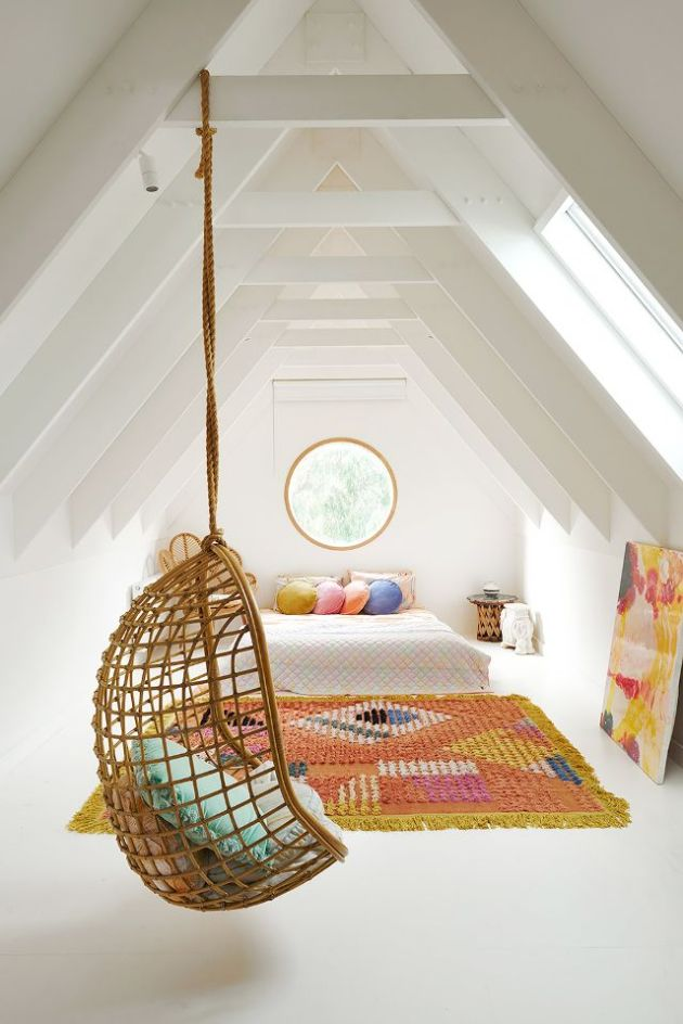 girls bedroom decoration ideas with rug and hanging chair