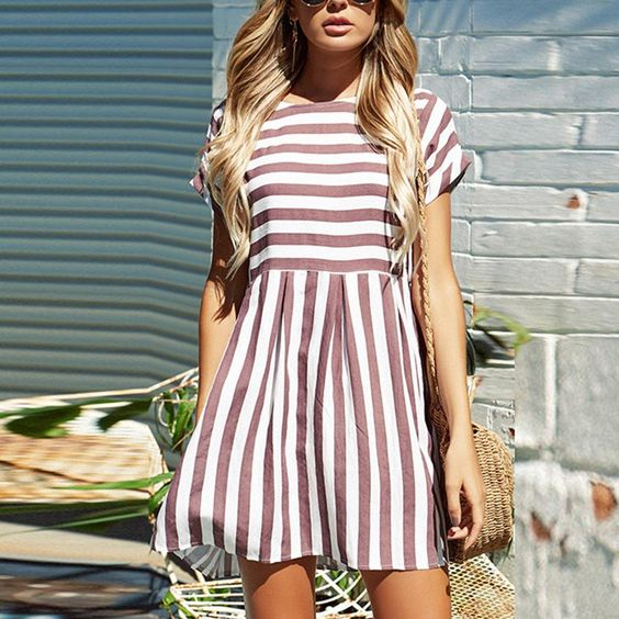short striped cotton dress