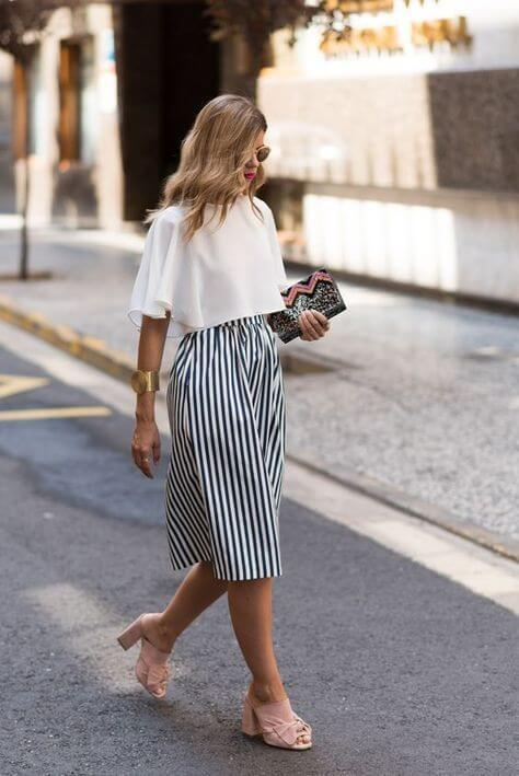 block heel summer stripe culottes outfit ideas