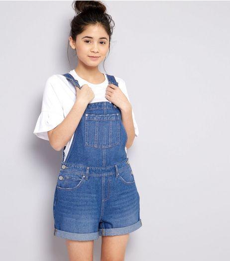 blue denim short overall for teen girls