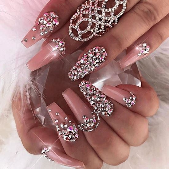 coffin nail designs with rhinestones