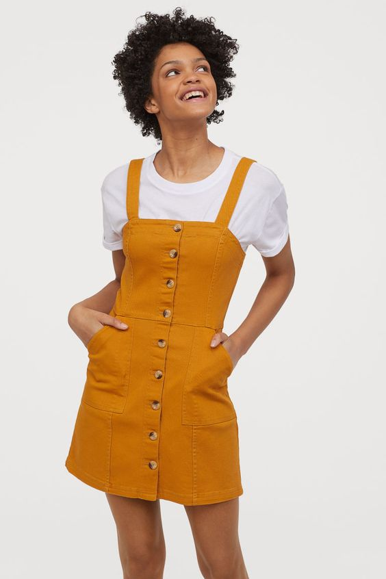 short gently fitted bib overall woven fabric denim dress