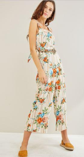 striped floral cropped jumpsuit