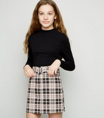 teen girls Checker belted denim skirt
