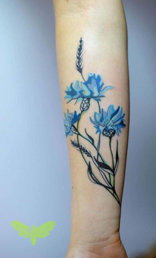 delicate cornflower tattoo design on forearm for girls