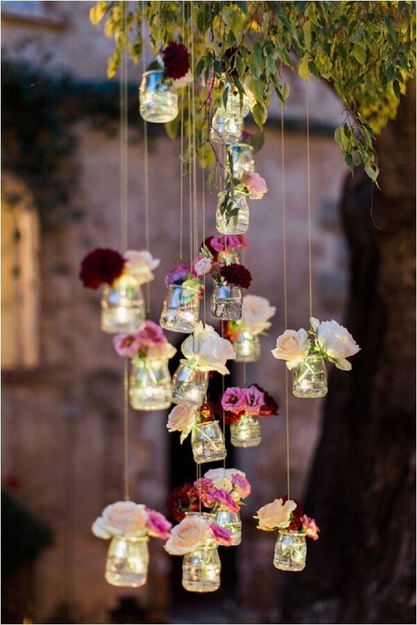 hanging light jars for summer garden party decors