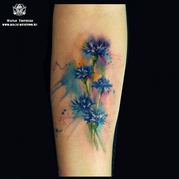 watercolor conflower tattoo on forearm