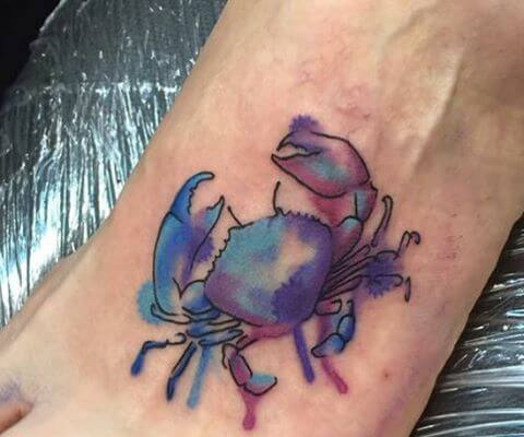 waterink crab tattoo design on foot
