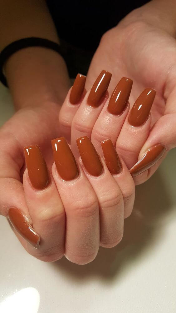 brown color coffin acrylic nails for autumn fall