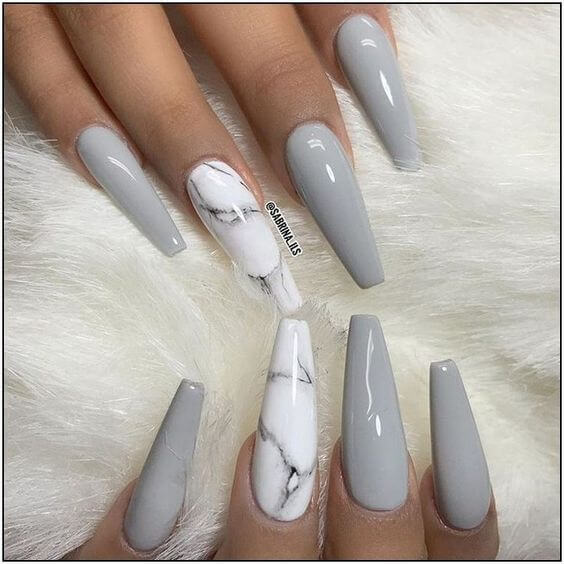 cute long grey marble coffin acrylic nails