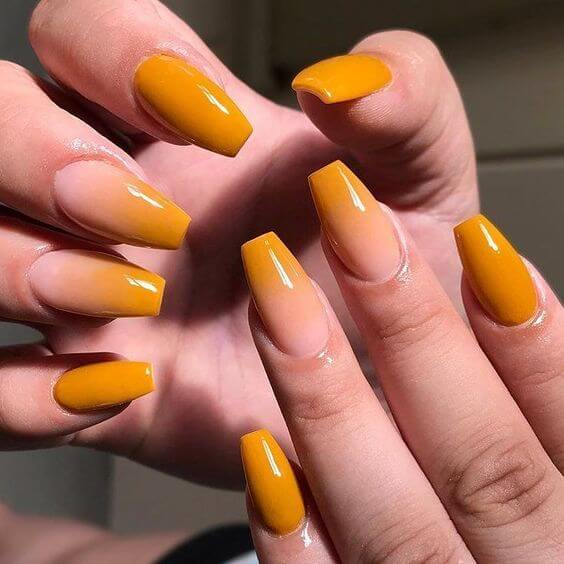 mustard yellow ombré nails