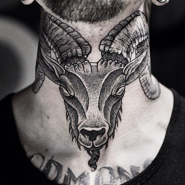 rams head neck tattoo